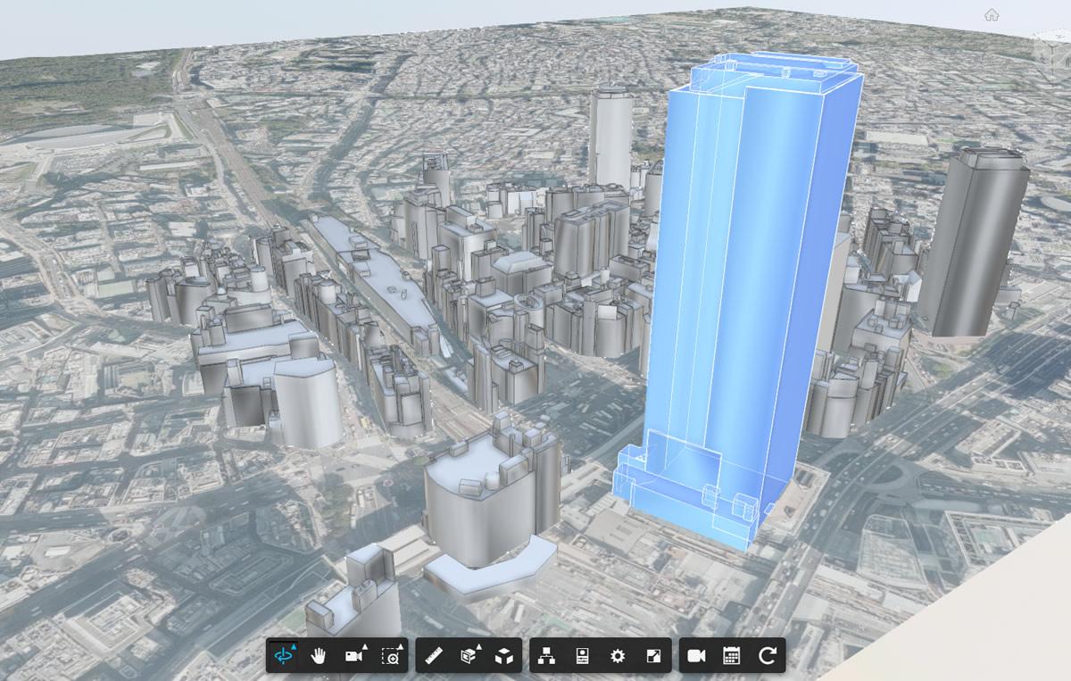 3D都市モデル(国土交通省 PLATEAU)を統合